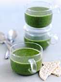 Watercress soup and crackers