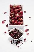 Dried rose tea leaves