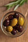 Jar of Black and Green Olives; Open; From Above