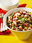 Bean salad with chickpeas and radishes