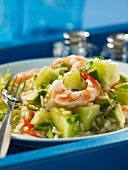 Rice salad with shrimps and honeydew melon
