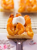 Apricot tray bake with cream
