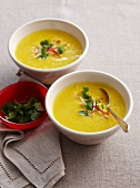 Thai-style cream of pumpkin soup (with coconut milk and rice noodles)