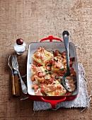 Semolina gnocchi au gratin with tomato sauce