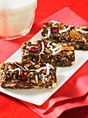 Homemade nut bars and a glass of milk