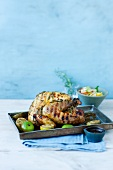 Stuffed herb chicken with citrus fruits