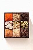 Ingredients for baharat (a spice mixture from the Eastern Mediterranean region and the Arab region)