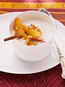 Celery foam soup with apple, cinnamon and walnuts