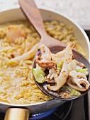 Fried calamari with risoni risotto