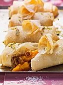 Pastilla filled with dried figs, dates and fresh apricots