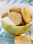 Sesame and pistachio biscuits