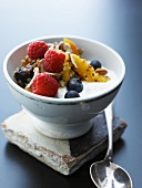 Natural yogurt with fruits and nuts