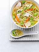Miso soup with noodles and chicken (Asia)