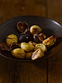 A bowl of roasted chestnuts