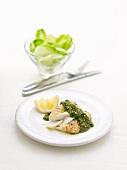 Cod with pesto and lemon