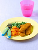 Fish fingers with carrots and peas
