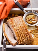 Roast pork with crackling with oriental spices