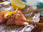 Salmon kebabs with a spicy marinade