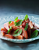 Marinated strawberries with mint and basil