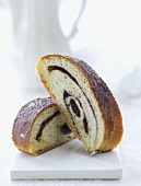 A cinnamon filled beigli (Hungarian Christmas pastry)