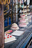 Elegant cakes in a bakery