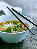 Glass noodle soup with prawns