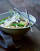 Asian vegetables soup with enokitake mushrooms