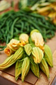 Squash Blossoms and Green Beans