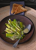Warm marinated leek with a mustard and dill vinaigrette