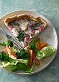 Radish and chive quiche with a side salad