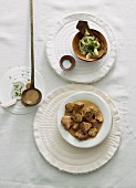 Creamy veal goulash with mushrooms