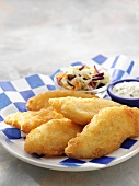 Battered and Fried Cod with Tarter Sauce and Slaw