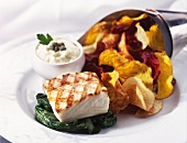 Grilled Cod on Wilted Greens with Veggie Chips