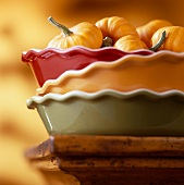 Mini Pumpkins in Stacked Pie Dishes