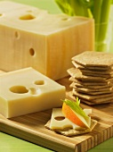 Emmental cheese and crackers