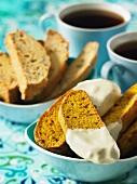 Pumpkin and walnut biscotti with white chocolate, coffee and pecan nut biscotti