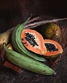 A papaya and plantains