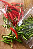 Red and green chilli peppers in a freezer bag