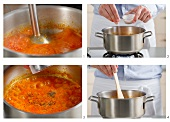 Tomato sauce being pureed with a hand mixer