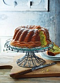 Pumpkin seed oil Bundt cake dusted with icing sugar (Austria)