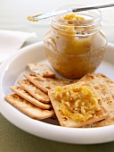 Chickpea jam and crackers