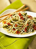 Angel's hair pasta with asparagus and dried tomatoes