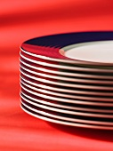 A stack of plates with a blue edge