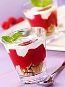 Layered dessert with biscuits, raspberry puree and yogurt