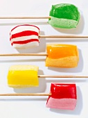 Five colourful lollies