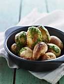 Baked potatoes with pesto