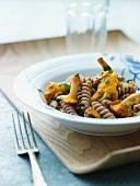 Wholemeal fusilli pasta with chanterelle mushrooms