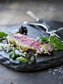 Beef steak with savoy cabbage