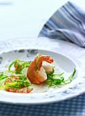 King prawns with a seaweed medley