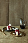 White chocolate parfait with red wine sauce
